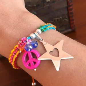 Macrame bracelet with real 925 silver Star